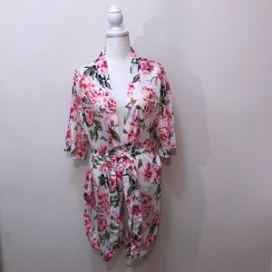 Show Me Your MuMu Floral Robe White Pink Green OS